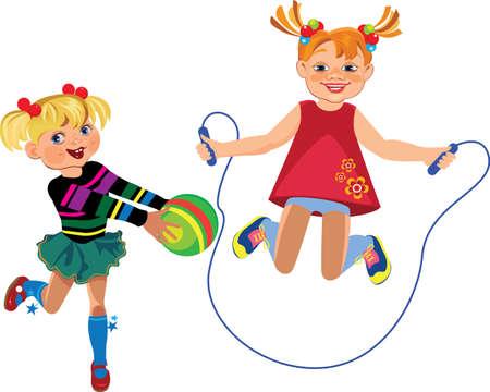 saltar la cuerda: ni�as felices jugando con una cuerda pelota y salto