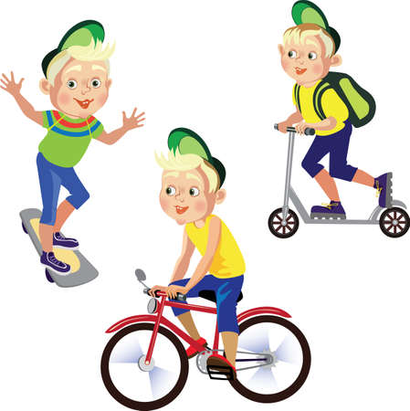 set drawings boy on a bicycle, skateboard, scooter