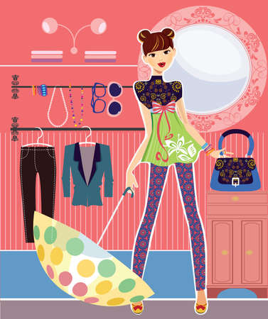 girl in the closet room Vector