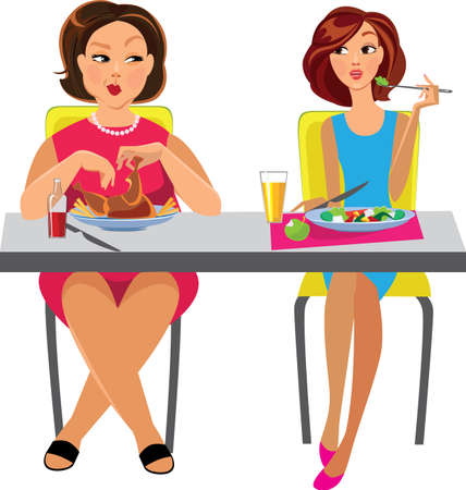 two women sitting at the table and eat different dishes Vector