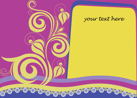 applique flower: decorative card with a letter and flower element