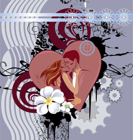 innamorati che si baciano: immagine astratta del cuore e gli innamorati che si baciano Vettoriali