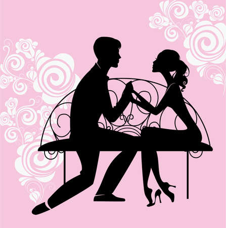 paramour: silhouette of lovers sitting on the bench