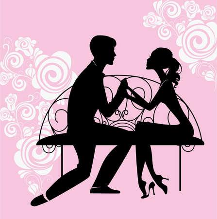 siluetas de enamorados: silueta de los amantes que se sientan en el banquillo Vectores