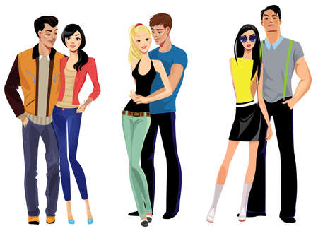 adolescent sexy: group of young people Illustration