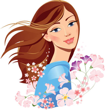 ojos marrones: niña de primavera con flores Vectores