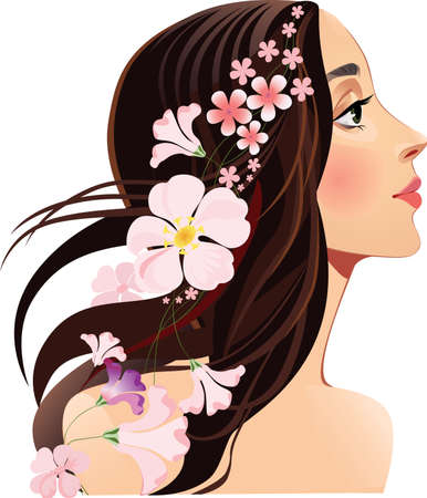 long hair brunette: head girls profile with flowers in her hair