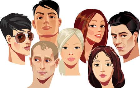 gestos de la cara: retratos vectoriales de rostros de hombres y mujeres Vectores