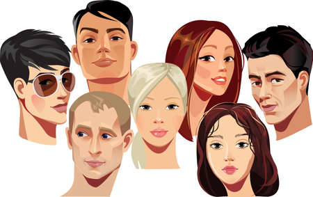fashion illustration: vector portraits of faces of men and women