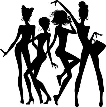 woman jump: silhouette of funny girls on white background