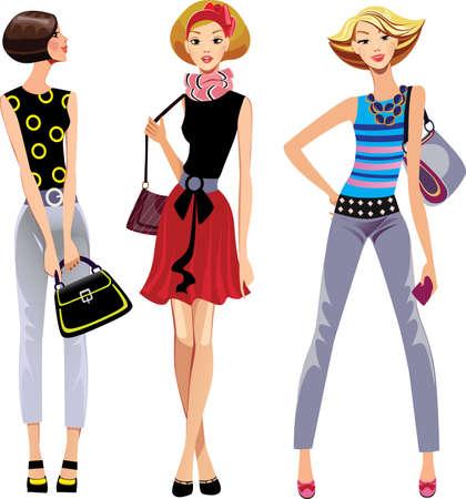 a bag: three fashion girls