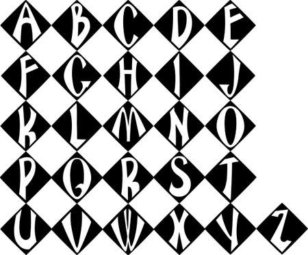inscribed: alphabet black letters inscribed in the geometric shape Illustration