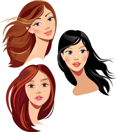 long curly hair: face of beautiful girls Illustration