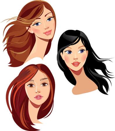 coiffer: visage de belles filles Illustration