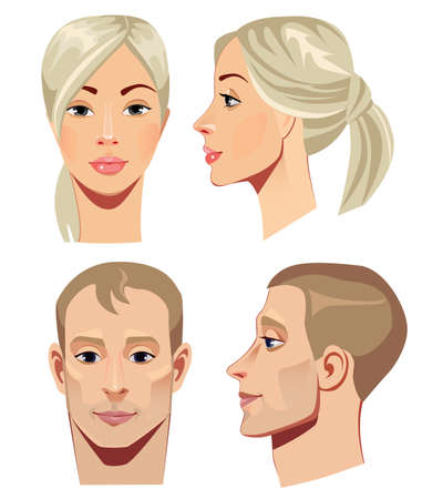 beauty woman face: portrait of men and women in straight and profile