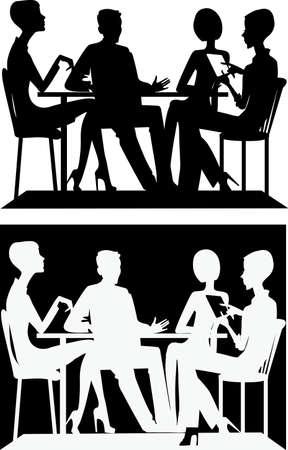 personas sentadas: silueta de un grupo de personas sentadas en una mesa