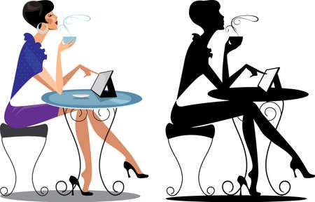 vrouw met tablet: mode vrouw aan tafel met tablet en haar silhouet Stock Illustratie