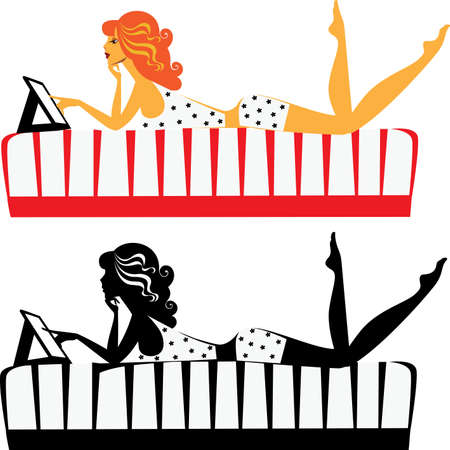 woman lying in bed: girl on the bed with a tablet and her silhouette