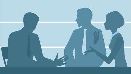 talks: silhouette of people office staff