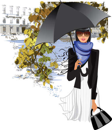 promenade: girl with an umbrella on a background of autumn leaves