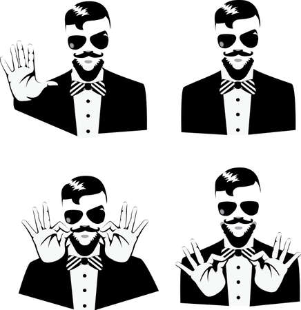 beard man: head of a man with a beard and hands Illustration