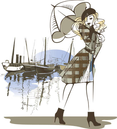 fashion girl: painted figure of a girl with an umbrella on background boats