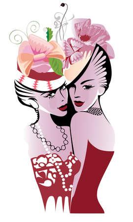 femme dessin: deux dames à chapeaux
