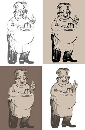 differently: drawn illustration of chef differently colored Illustration