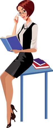 table skirt: teacher with a book Illustration