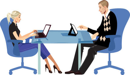 vrouw met tablet: men and woman sitting at table with laptop and tablet