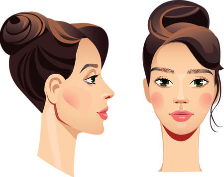 face girl in straight and profile Illustration