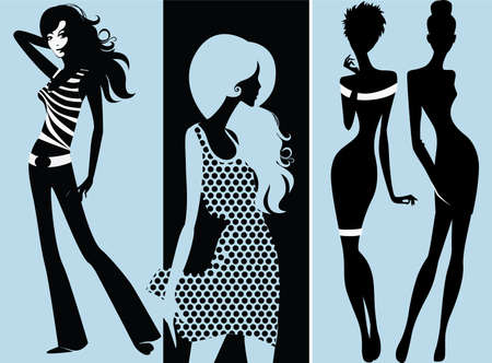 cute girl with long hair: silhouette of fashion girls