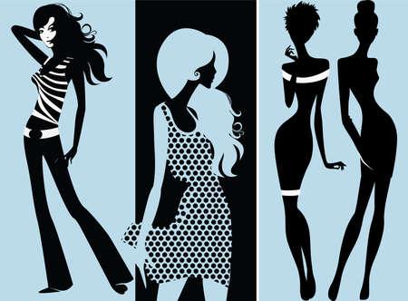 leg: silhouette of fashion girls