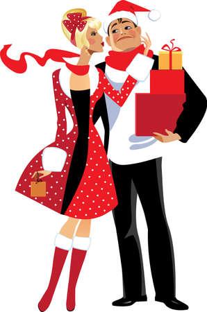 parejas enamoradas: pareja dama y hombres con cajas de navidad con regalos Vectores