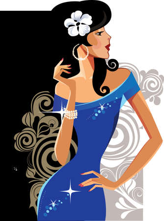 nude girl: glamour lady in blue dress Illustration