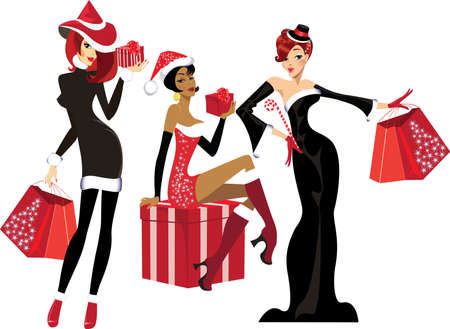 cartoon present: glamorous girls with christmas gifts Illustration