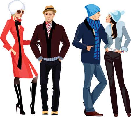 enamorados caricatura: hombres y mujeres en ropa de invierno Vectores