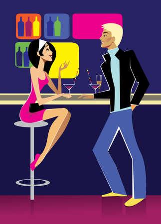 night bar: girl and guy at the bar
