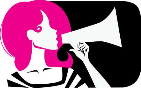 silueta humana: chica grita en un meg�fono