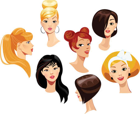 cartoon nose: vector portraits of faces girls