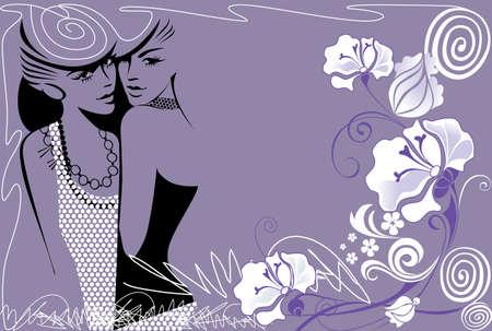 femme dessin: dames de mode avec des fleurs fond