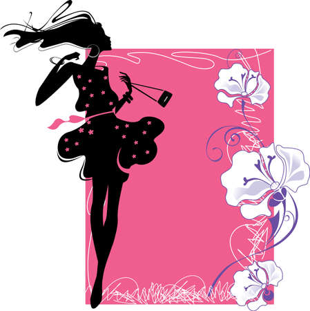 accessory: silhouette of girl on a pink background with flowers Illustration