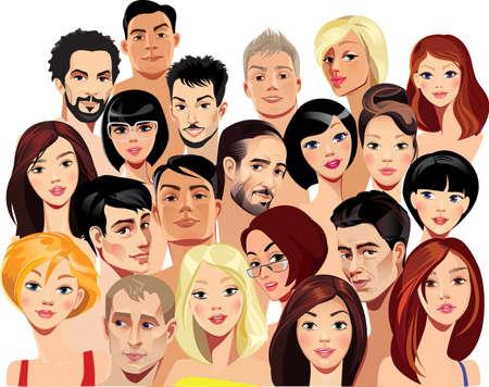 mujeres fashion: retratos vectoriales de rostros de hombres y mujeres Vectores