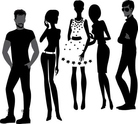 hair style fashion: silhouettes of fashion men and woman Illustration
