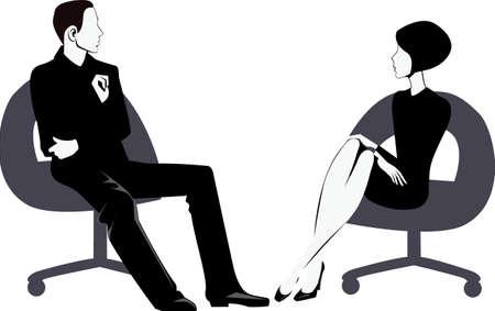 sentarse: hombres y mujeres que se sientan en la silla Vectores
