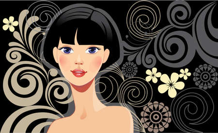 black hair: beautiful girl with brunette hair on a black background
