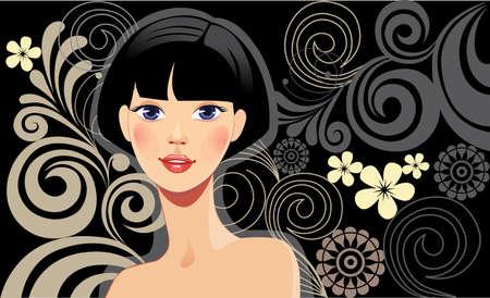 cabello negro: hermosa chica con el pelo morena en un fondo negro Vectores