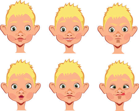 noses: different expressions of boy face