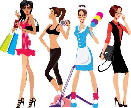hairdos: glamor girl, fitness girl, housewife, business woman