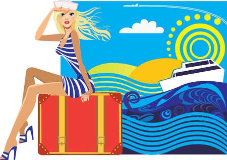 valigia: Donna viaggiatore seduta su una valigia su uno sfondo colorato